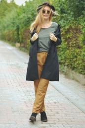 ag on i ya,blogger,pants,mustard,round sunglasses,grey coat