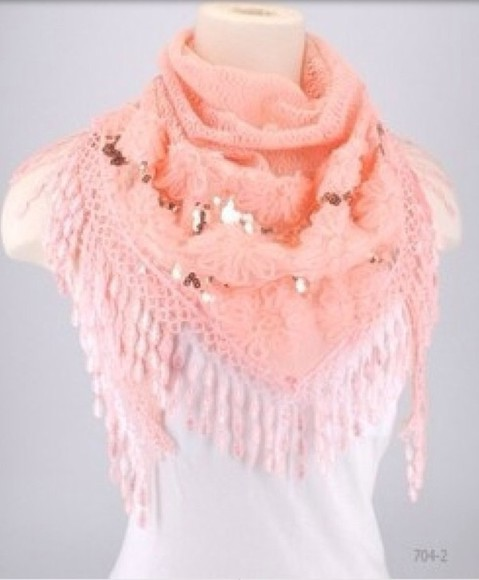 gold sequins scarf peach fringe nitted scarf