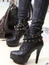 shoes,black,black boots,boots,metal,rock,high,heels,metal rivets,buckle boots
