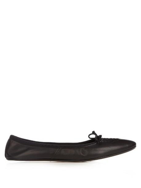 BOTTEGA VENETA Intrecciato leather ballet flats in black