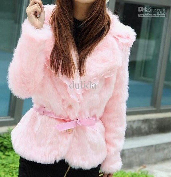 jacket pink fluffy fur small petite belt