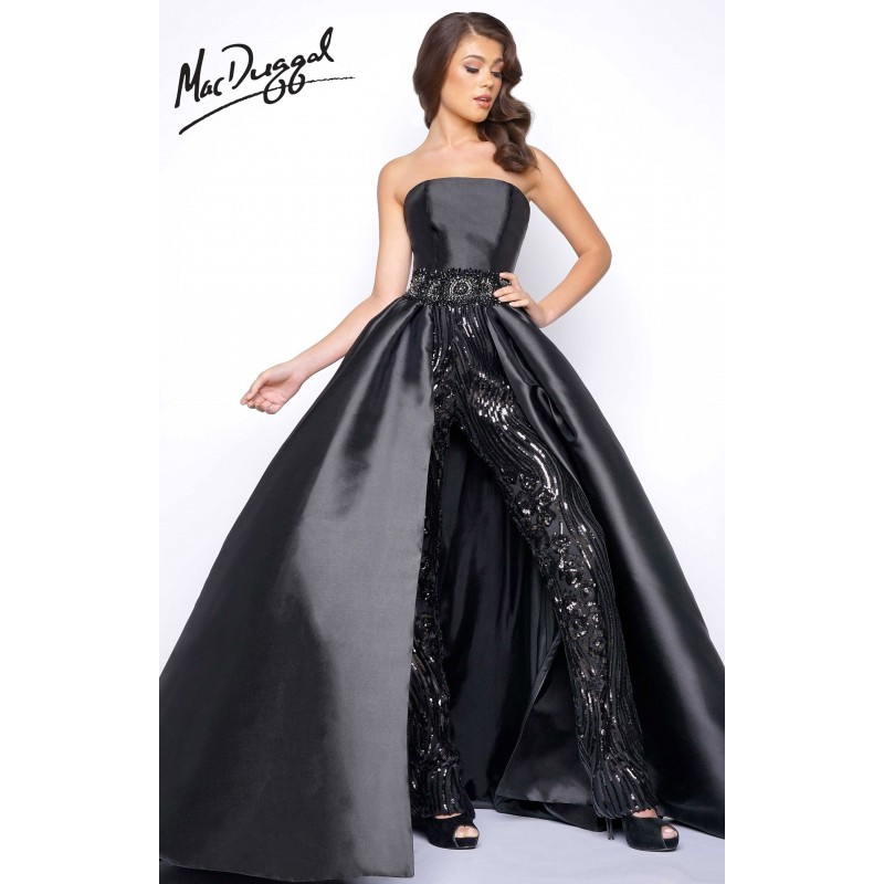 Black Mac Duggal 11039M - Romper Long Sequin Dress - Customize Your ...
