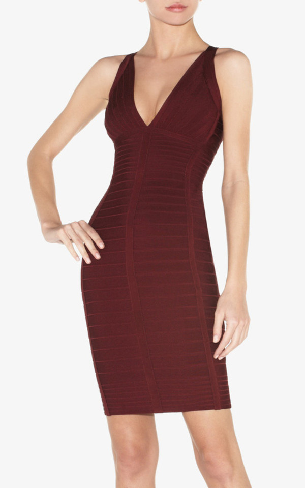 dress bandage dress v neck dress