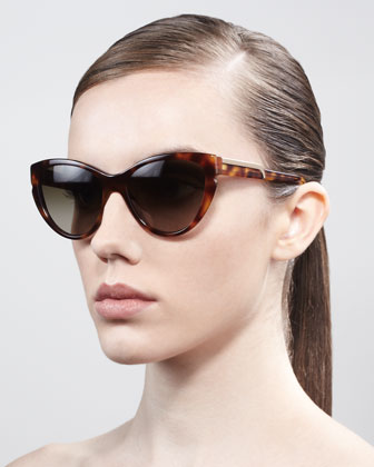 Stella McCartney Cat-Eye Sunglasses, Tortoise - Neiman Marcus