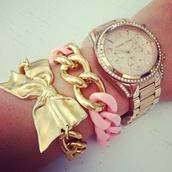 jewels,bow,bracelets,bows,gold,gold bracelet,ribbon,gold jewelry,belt