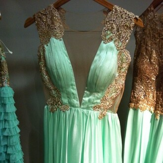 dress blue green gown prom dress long long prom dress gold gold details lace details v neck dress vintage