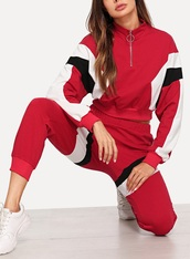 jumpsuit,girly,girl,girly wishlist,two-piece,joggers,sweater,red,white,black,tracksuit,track pants