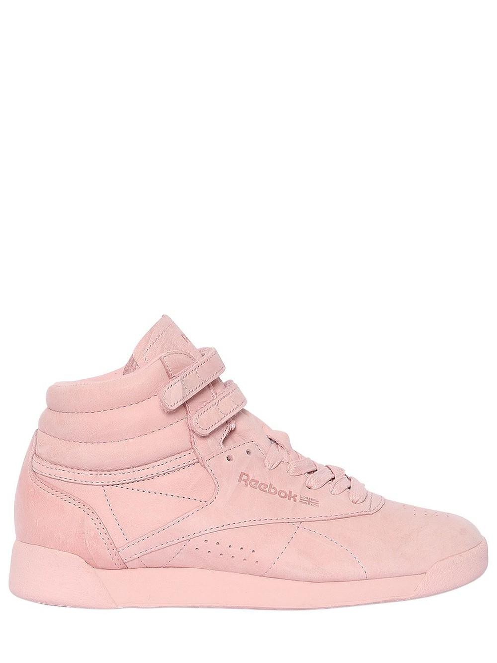 REEBOK CLASSICS Freestyle Nubuck High Top Sneakers in pink