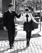 skirt,kourtney kardashian,kardashians,shirt,blouse,white,preppy,tie,classy,black,cute top