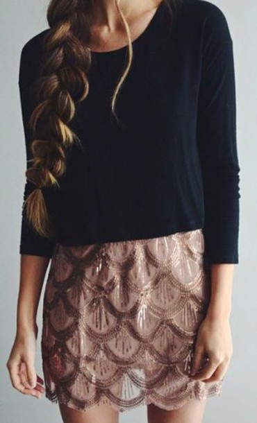 skirt casual crop tops sequin skirt shades of pink and red