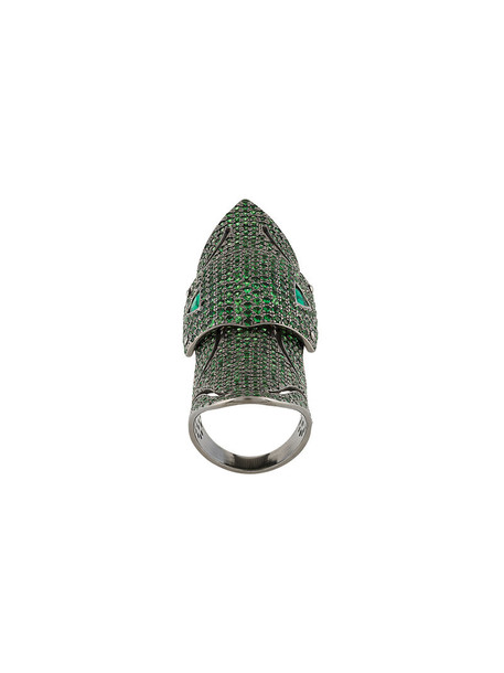 women ombre ring gold white green jewels