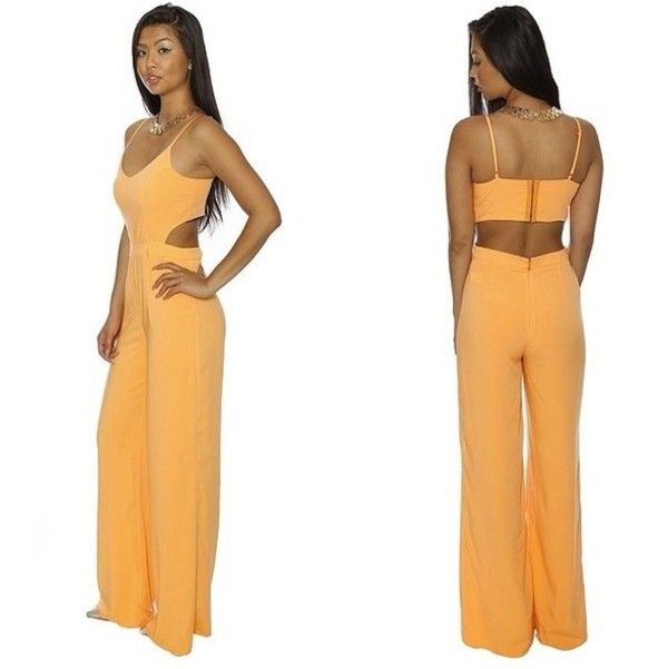 jumpsuit orange jumpsuits cut out umpsuits strap jumpsuits backless jumpsuits romper romper
