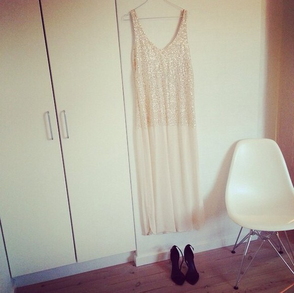 white nude dress embellished dress sequin dress sequins nude tuule