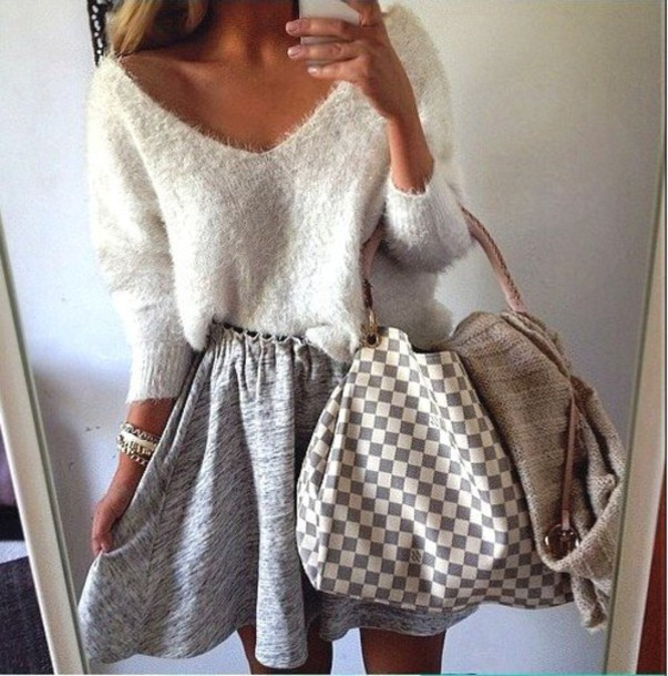 Sweater: fuzzy sweater, sexy sweater, checkered, skater skirt ...