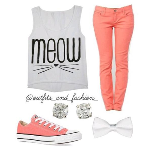 shirt meow grey cats t-shirt pants