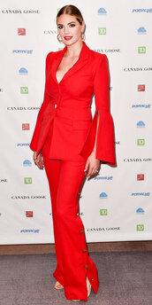 pants,suit,red,kate upton,blazer,celebrity,jacket