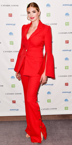 pants suit red kate upton blazer celebrity jacket