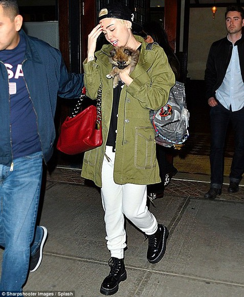 dog shoes boots marc jacobs parka miley cyrus white trousers, white pants