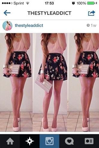 skirt dress flowers pink flowers skater skirt