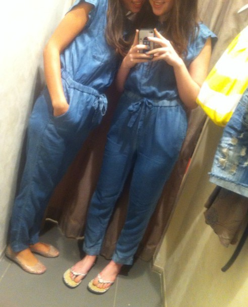 jumpsuit denim jumpsuit blue jeans