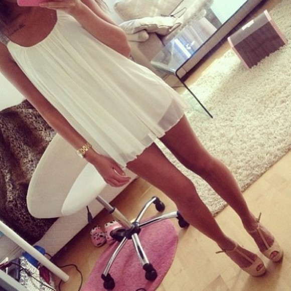 dress tunic white cute sexy cream nude high heels gorgeous shoes