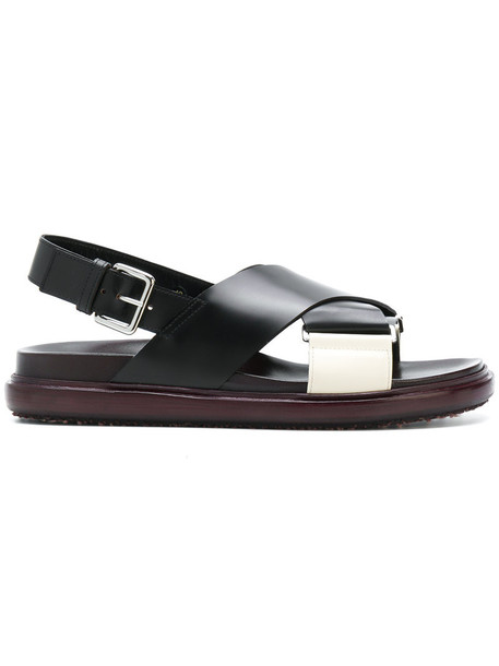 MARNI cross women sandals leather black shoes