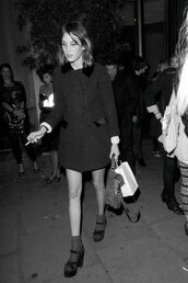 shoes,black,black shoes,high heels,black heels,sandal heels,alexa chung,coat