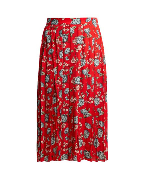 Vetements - Pleated Floral Print Crepe Midi Skirt - Womens - Red Multi