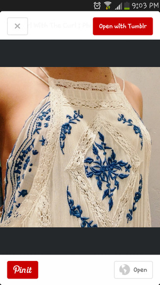 top blue shirt embroidery top