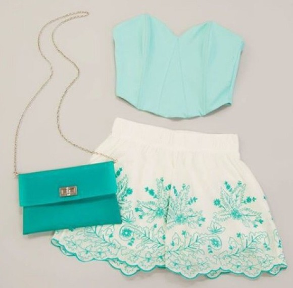 skirt floral cute top floral skirt summer outfits clothes girly crop tops jewels beach hipster mint mint green bag
