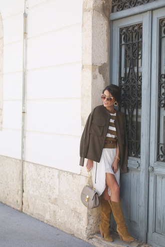 seams for a desire blogger sunglasses jewels white skirt striped shirt knee high boots suede boots shoulder bag