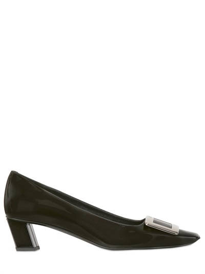 ROGER VIVIER, 45mm belle vivier patent leather pumps, Black, Luisaviaroma