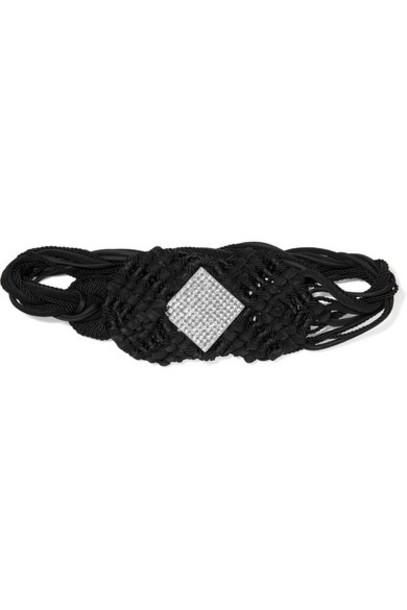 Saint Laurent - Crystal-embellished Braided Suede And Cord Belt - Black