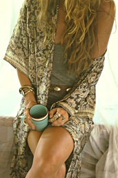 hippie,neutral,pattern,boho,bohemian,jewelry,knuckle ring,ring,boho jewelry,kimono,shawl,floral,summer,hot,tan,metallic,fabric,joplin fringe kimono,fringe kimono,boho kimono,brown,beige,neutral colors,earth tone,jewels,belt,coat,floral kimono,floral cardigan,boho chic,hippie chic,indie,bracelets,cup,fashion,blouse,top,clothes,jacket,aztec,silk,flowers,boho aztec silk floral cotton gypsy,pretty,sheer,paisley,three-quarter sleeves,light weight,layering bracelet,layered ring,cardigan,short sleeve,summer outfits,beach
