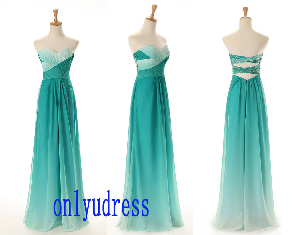 Ombre sweetheart long chiffon bridesmaid dresses, gradient chiffon cheap formal dresses, sexy crossed band back evening dresses, 5270