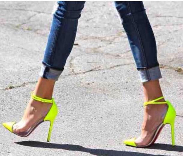 shoes neon pumps trendy chic