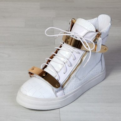 Giuseppe Zanotti Croc High Top Double Buckles Sneakers In White On Sale