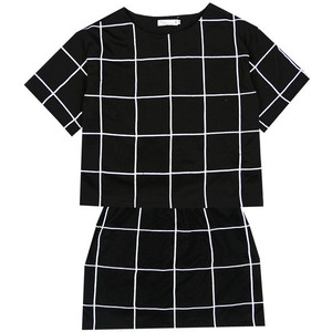 European and American minimalist checkered checkered BOOX temperament was thin models black and white dress suit skirt-ZZKKO ($16.00)