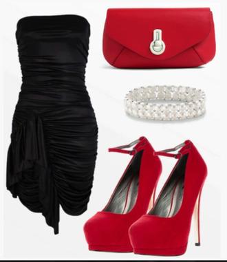 dress black dress little black dress bag clutch heels high heels ankle strap heels pumps bracelets clothes outfit