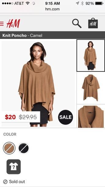 sweater h&m camel color poncho