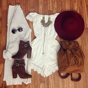 hat,romper,white romper,short,sweater,shoes,top,shorts,bag,boho dress,boho,jewels,jewelry,dress,cardigan,barrette,red,white dress,necklace,knitted cardigan,style,fashion,gorgeous dress,gorgeous,cute,cute dress!,summer dress,spring,spring outfits,spring dress,round sunglasses,sunglasses,glasses,boots,buckles,buckle boots,heels,gypsy dress,gypsy style,indie dress,white indie,white indie boho,festival dress,white,lace romper,jumpsuit,tumblr,everything,blouse,sun hat,burgundy,summer,guys,brown boots,brown fringe bag,hippy glasses,lace,off the shoulder