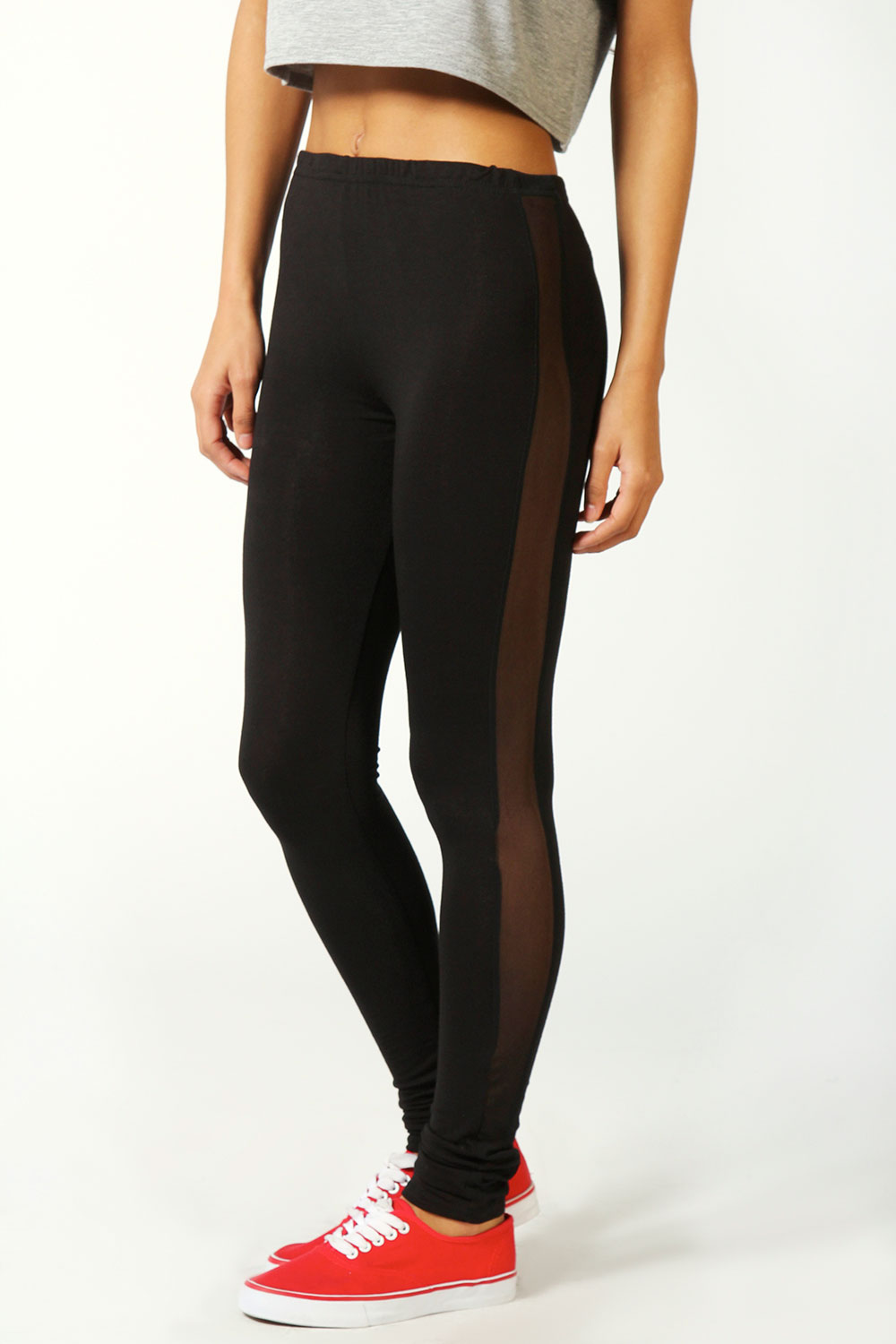Boohoo Lottie Mesh Side Panel Jersey Leggings in Black | eBay