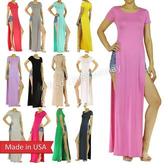 split skirt t-shirt t-shirt dress candy colors shirt dress double slit skirt double slit maxi dress double slit maxi skirt slit dress rhianna outfit celebrity style celebrity trendy solid color sexy high split skirt high split dress crewneck red lime sunday