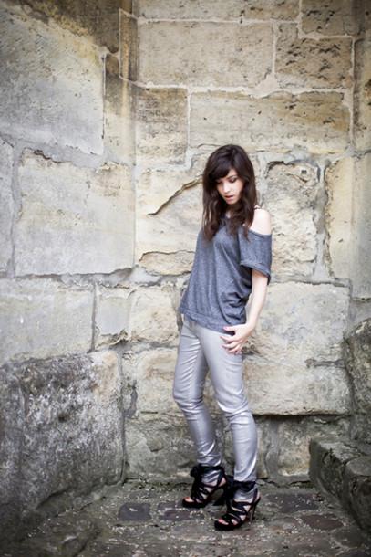 betty grey pants silver pants