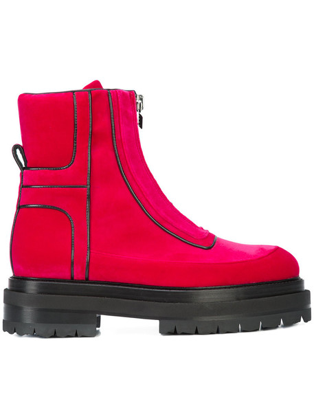 women ankle boots leather purple pink shoes
