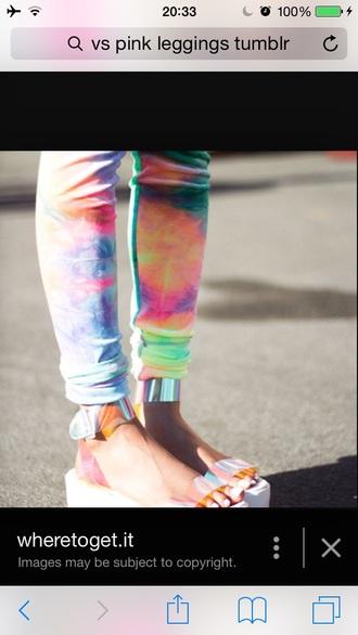 leggings tie dye colorful trippy pastel pastel colours vans warped tour shoes