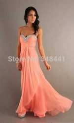 Online shop 2015 new arrival peach color prom gown chiffon sweetheart beaded long prom dress sexy girl prom gown custom made free shipping