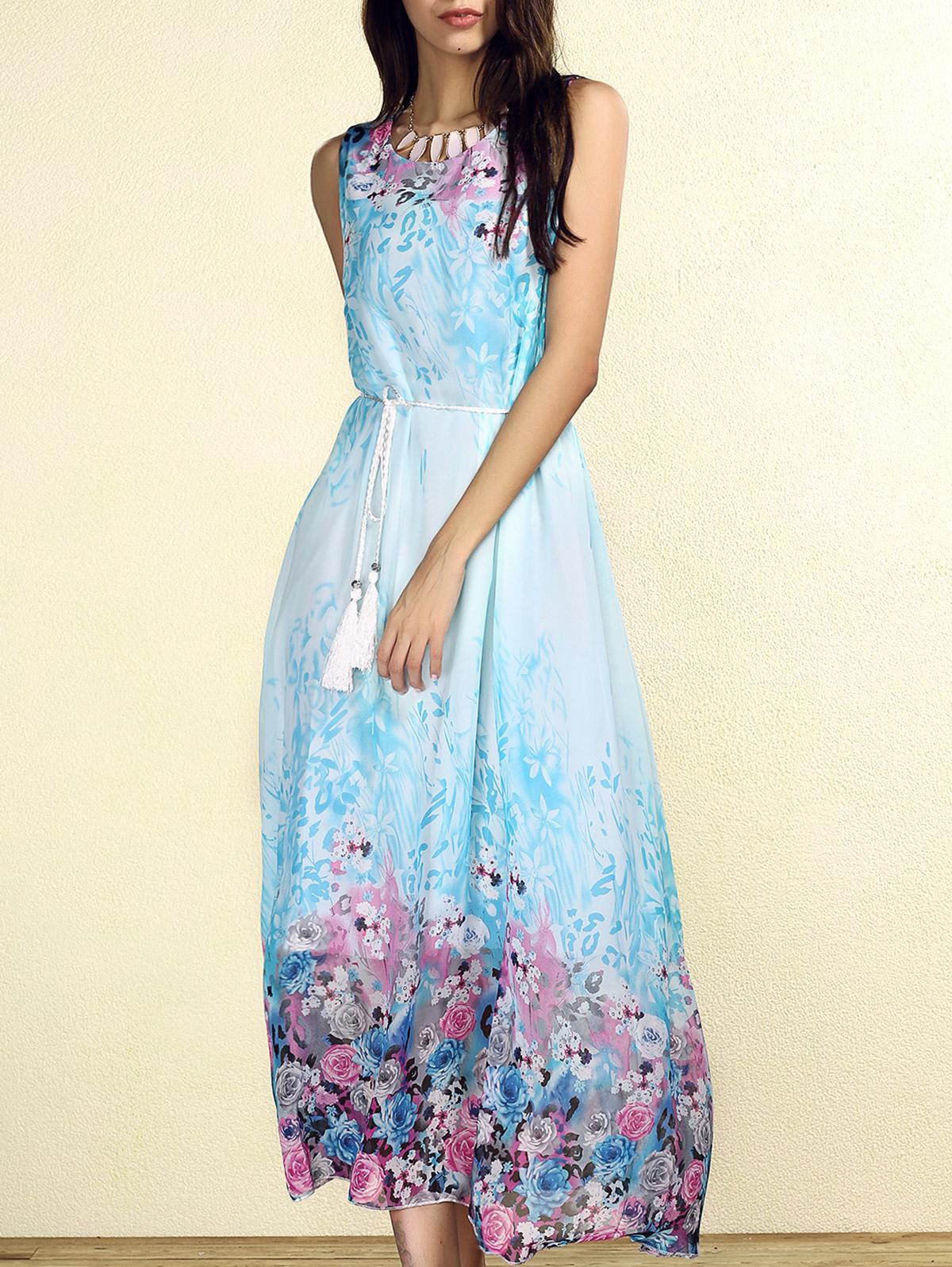 Bohemian Round Collar Sleeveless Floral Print Women's Dress