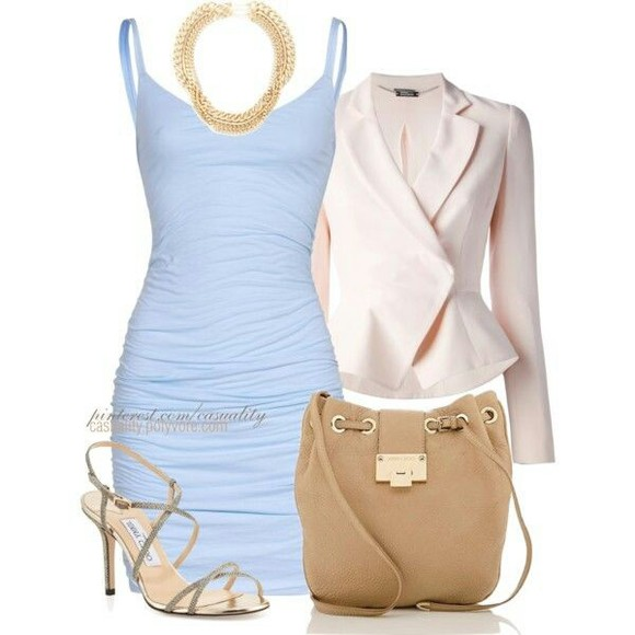 jacket blazer shoes dress bodycon dresses purse lightblue