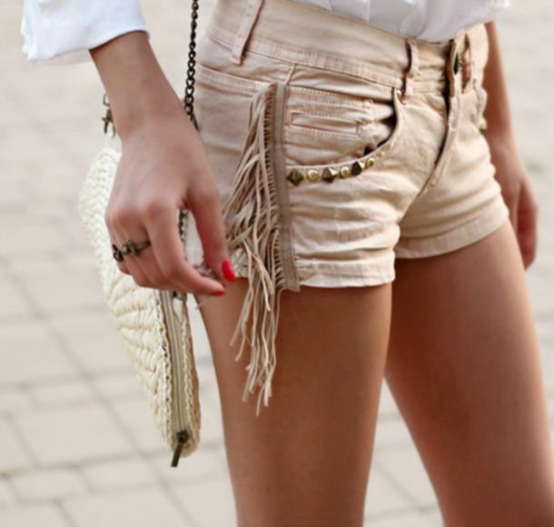 shorts hippie fringes pyramid studs cream summer